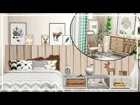SIMS 4 SCANDINAVIAN BEDROOM 💜 BUILD + CC List
