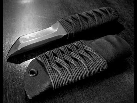 Horan Knives Sub-Q Tanto with 2 Bight Turks Head Knot Sheath Wrap