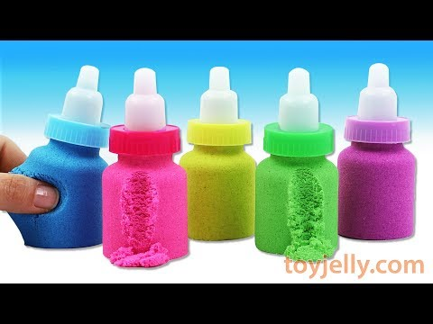 Making Kinetic Sand Baby Milk Bottle How To Make DIY Slime Clay Spoon Learn Colors Play Doh for Kids