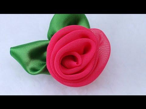 DIY Fabric Flower Vintage Rose, Chiffon flower Tutorial, Variant  #3