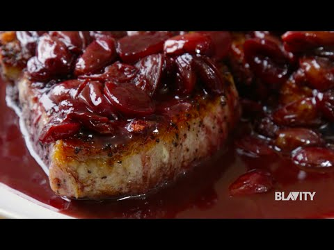 The Hungry Hutch's Seared Pork Chops with Red Wine & Grape Sauce