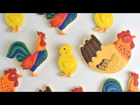 ROOSTER~HEN~CHICK FARM ANIMAL COOKIES by HANIELA'S