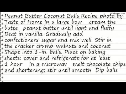 Recipe Peanut Butter Coconut Balls Recipe