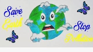 How To Draw Save Earth Coloring Poster Step By Step Save Trees Save