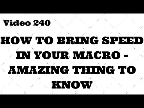 Learn Excel - Video 240 - VBA - How to Speed up your Macro