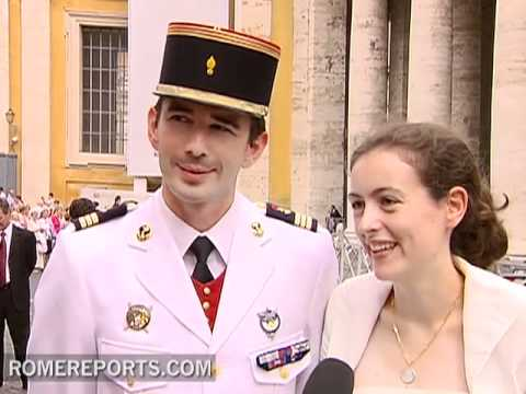 White and with Tuxedo: Newlyweds Visit Pope at the Vatican