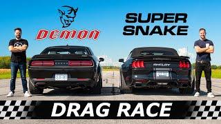 Dodge Demon vs Shelby Super Snake Widebody // DRAG & ROLL RACE