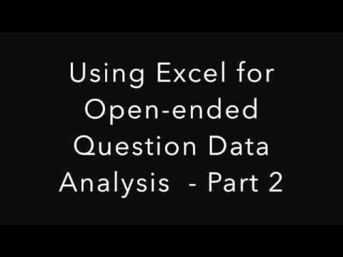 Part 2: Using Excel for Open-ended Question Data Analysis