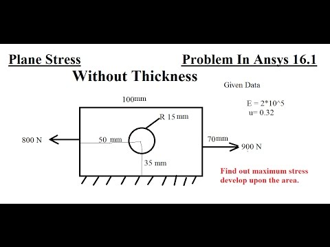 Plane Stress Strain without Thickness In Ansys 16.1 Tutorial