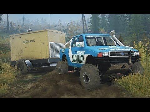 MUDRUNNER MODS! 4x4 Ford Hauling a Trailer Through Mud! (SpinTires MudRunner Mods)