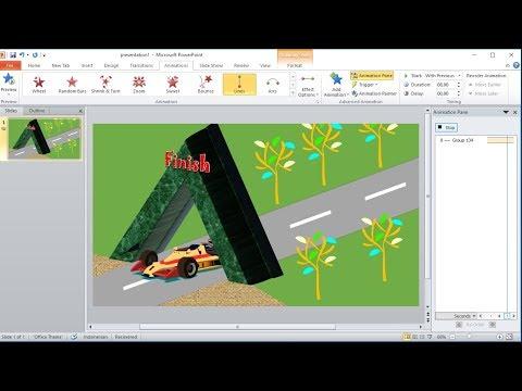 Tutorial powerpoint 2010 |Cara Membuat Custom Animations Mobil Melewati Terowongan di powerpoint