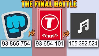 PewDiePie vs T-Series vs YouTube Music - THE RACE TO 100 MILLION
