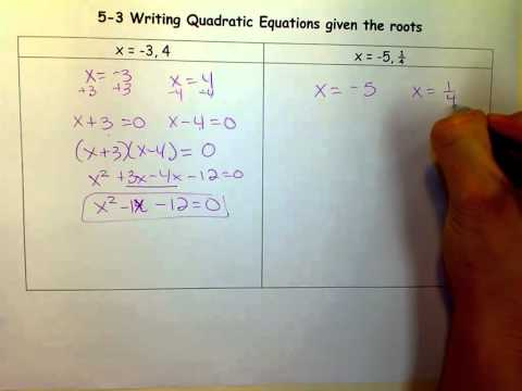 Writing Quadratic Equations given the roots.mov