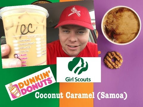 DUNKIN DONUTS COCONUT CARAMEL SAMOA GIRL SCOUT COOKIES ICED COFFEE