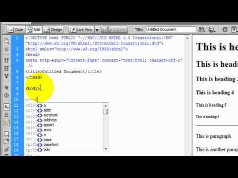 Dreamweaver CS4: Tutorial 1 - HTML codes [headings, paragraph, horizontal line, break line, comment]