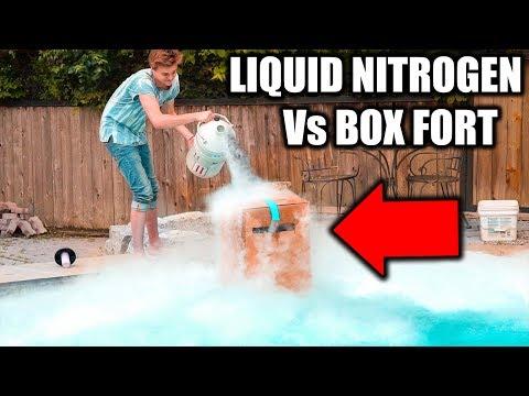 BOX FORT Vs LIQUID NITROGEN CHALLENGE! ❄️