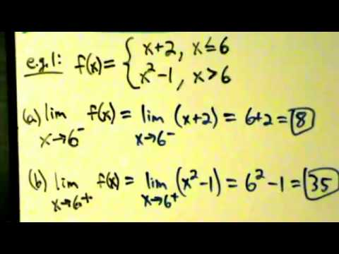 Calculus I - Limits - Finding Limits Algebraically - Piecewise Functions 1