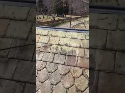 Low pressure roof cleaning Slate roof instant results!!