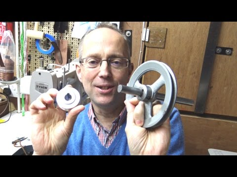 Slowing a Leather Sewing Machine with pulleys.