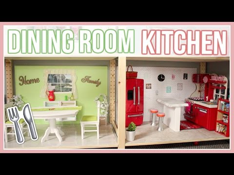 DIY KITCHEN & DINING ROOM! | How to make an American Girl Doll Dining Room and Kitchen