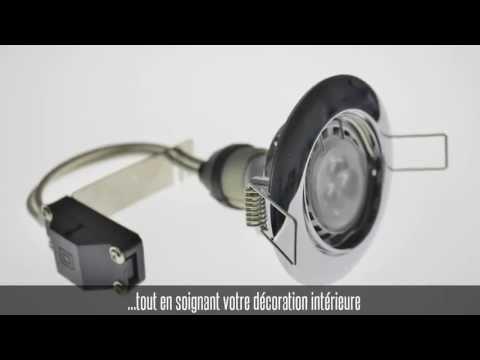 Support encastrable et orientable rond pour spot led GU10 ou GU5.3, gris chromé