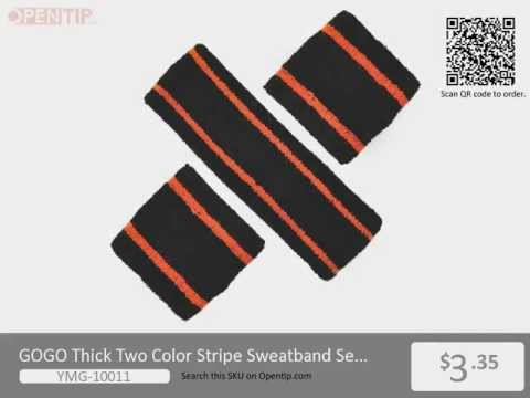 GOGO Thick Two Color Stripe Sweatband Set from Opentip.com