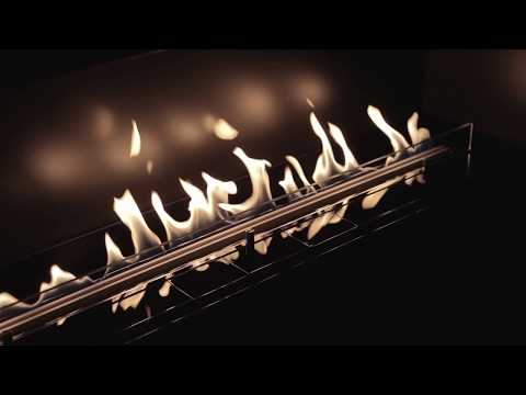Bio ethanol fireplace to create a design with an infinitely long line of real fire.