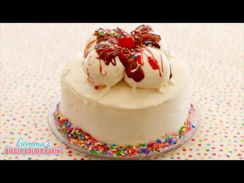 Banana Split Ice Cream Cake (No Machine Homemade Ice Cream) - Gemma's Bigger Bolder Baking Ep 79