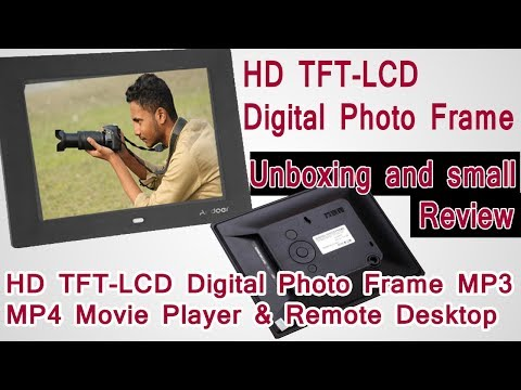 HD TFT-LCD Digital Photo Frame Alarm Clock MP3 MP4 Movie Player    unboxing and review