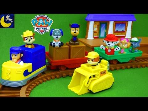 Paw Patrol Toys Adventure Bay Railway Train Track Set Rubble Rocky Chase Marshall Robo Dog Toys!