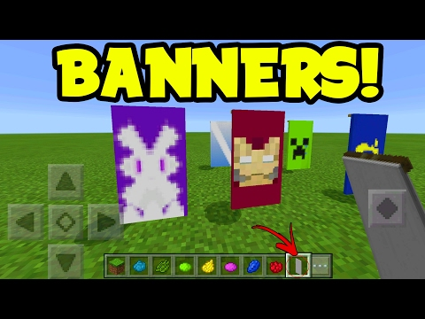 Minecraft Pocket Edition MAKE CUSTOM BANNERS!! (Banners Addon Pack)