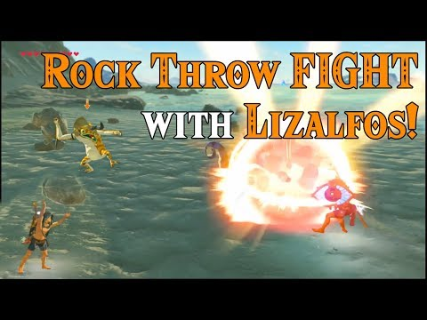 Rock Throw FIGHT with the Lizalfos! Why use weapons? Use rocks in Zelda Breath of the Wild