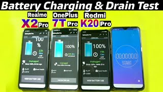 Realme X2 Pro vs Redmi K20 Pro vs OnePlus 7T Pro : Battery Drain & Charging Test