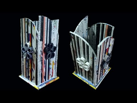 Newspaper Flower Vase | DIY newspaper crafts | Best out of Waste (Unique)