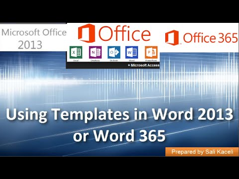 Using Templates in Word 2013 or Word 365