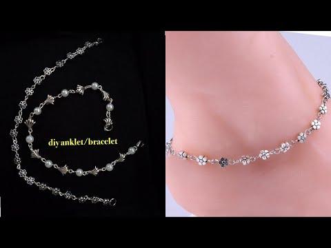 diy  anklet bracelet||how to make anklet/bracelet at home||easy diy jewelry
