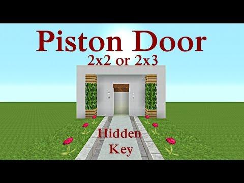 Minecraft Tutorial : Piston Door Hidden Key 2x2 or 2x3