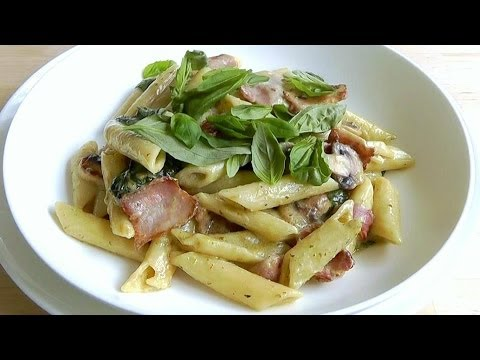 How to Make Creamy Pasta Bacon Mushroom Quick simple recipe