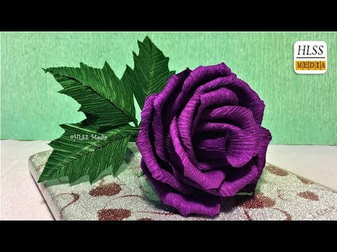 Super easy way to make purple rose paper flower| diy rose crepe paper flower making tutorials