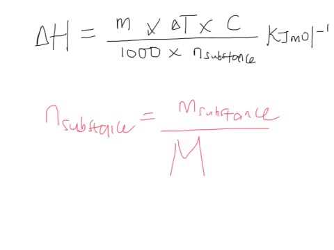 Calculations of heat energy exchange and molar enthalpy change (3)