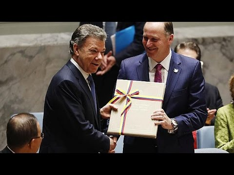 The war in Colombia is over, Santos tells UN