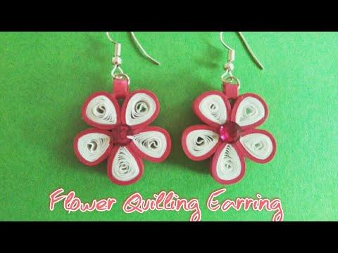 DIY Quilling Flower Earrings | Simple and easy Paper Quilling Earrings tutorial