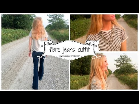 flare jeans and stripe tee outfit with squash blossom necklace