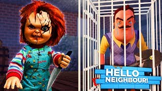 Minecraft HELLO NEIGHBOR - CHUCKY KIDNAPS THE NEIGHBOR AND TRAPS HIM IN HIS OWN BASEMENT!!
