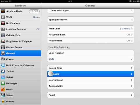 How to remove Arabic keyboard in iPad iOS 5