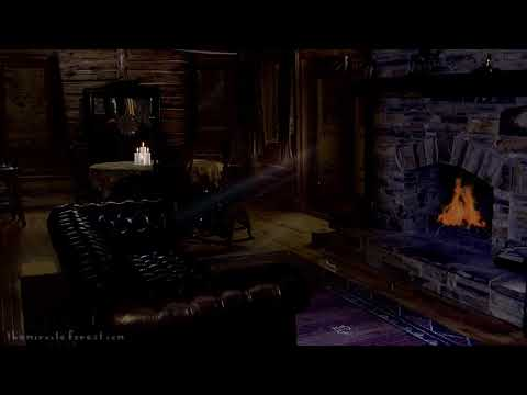 🎧 Night Cabin Ambience   fireplace & crickets   Relaxing asmr Soundscape
