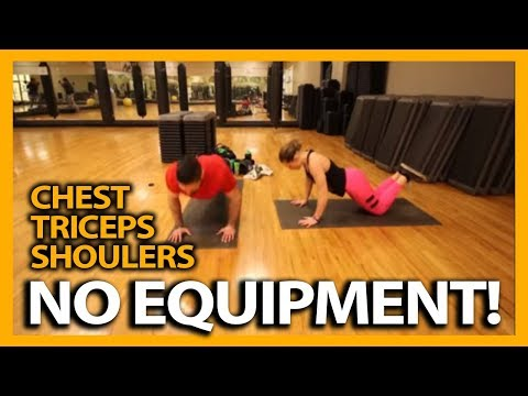 Chest, Tricep, and Shoulder Workout At Home (NO EQUIPMENT NEEDED!)
