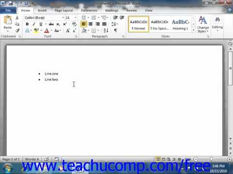 Word 2010 Tutorial Applying Bullets and Numbering Microsoft Training Lesson 15.1