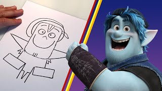 How to Draw Barley Lightfoot From Onward | Draw With Pixar