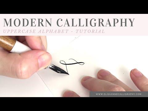 Modern Calligraphy Alphabet UPPERCASE    Left-Handed Calligrapher